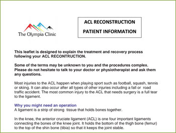 ACL RECONSTRUCTION PATIENT INFORMATION