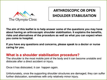 ARTHROSCOPIC OR OPEN SHOULDER STABILISATION