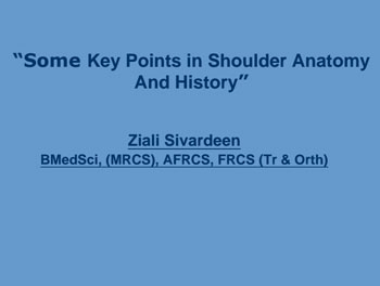 Some Key Points in Shoulder Anatomy And History